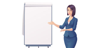Cute young business woman in blue clothes, pointing at empty flip chart vector illustration