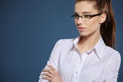 Cute young business woman with glasses.  royalty free stock images