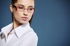 Cute young business woman with glasses.  stock image