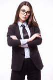 Cute young business woman in glasses with crossed hands Stock Images
