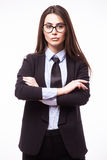 Cute young business woman in glasses with crossed hands Stock Photo