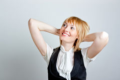 Cute young business woman smiling Royalty Free Stock Image