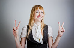 Cute young business woman smiling Royalty Free Stock Photos