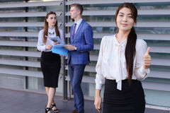 Cute young business woman, student rests, took break from work, Royalty Free Stock Image