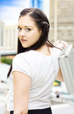 Cute Young Busy Business Woman Carrying Briefcase Royalty Free Stock Image