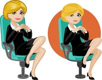 Cute young Caucasian office woman on chair Royalty Free Stock Photo