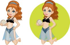 Cute young Caucasian woman in bikini Royalty Free Stock Images