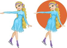 Cute young Caucasian woman figure skater Royalty Free Stock Photos