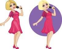 Cute young Caucasian woman singer Royalty Free Stock Photos