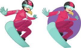 Cute young Caucasian woman on snowboard. Vector illustration in cartoon and flat design style Stock Photo