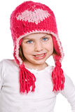 Cute Young Child in Pink Winter Hat Royalty Free Stock Images