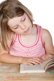 Cute Young Child Reading her Book Stock Image