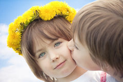 Cute young children kissing Royalty Free Stock Photo