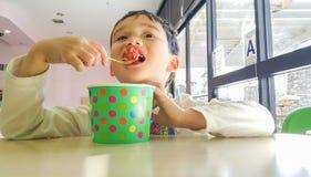 Cute Young Chinese and Caucasian Boy Enjoying a Frozen Yogurt stock photo