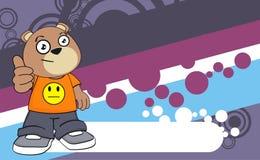 Cute young chubby teddy bear cartoon expression background Stock Photos