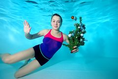 Cute young coach-girl swims underwater in the pool with the toy in his hand and looking at the camera. Portrait. Horizontal orientation. A view from under the Stock Images