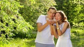 Cute Young Couple Blowing Dandelion Seeds Laughing Sunset Summer Field stock video footage