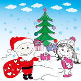 Cute young couple boy and girl give gifts Stock Image