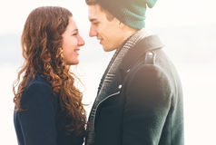 Cute young couple in love, close up Stock Photo
