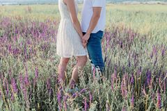 Cute young couple in love is holding their hands in a field of flowers. Love concept, romantic stock photos