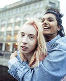 Cute young couple of teenagers girlfriends having fun, traveling europe, modern fashion citylife, lifestyle people. Concept close up stock image