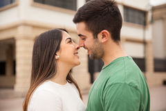 Cute young couple about to kiss Stock Photo