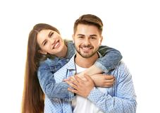 Cute young couple. On white background royalty free stock photos