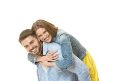 Cute young couple. On white background royalty free stock photography