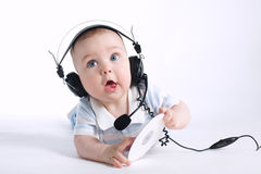 Cute young DJ on white Royalty Free Stock Image