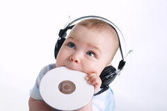 Cute young DJ on white Royalty Free Stock Images