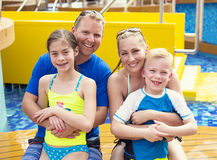 Cute young family on a cruise vacation together Stock Photography