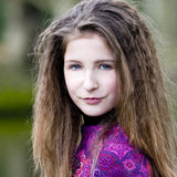 Cute Young Fashion Girl In Park Royalty Free Stock Photos