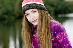 Cute Young Fashion Girl In Park Royalty Free Stock Photo