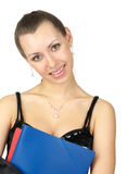 Cute young female with folder. Cute young female with a blue folder isolated over white stock images