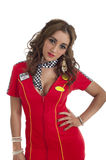 Cute young female in red racing dress Stock Photography