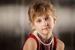 Cute young girl with big eyes Royalty Free Stock Photos