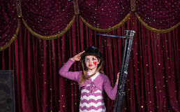Cute young girl with a blunderbuss Stock Images
