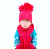 Cute young girl in bright hat Stock Photo