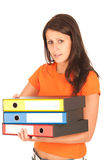 Cute young girl carries file folders Stock Photography