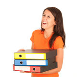 Cute young girl carries file folders Stock Photos