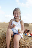 Cute young girl dines Royalty Free Stock Photography