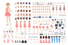 Free Cute Young Girl DIY Or Constructor Kit. Bundle Of Body Parts In Different Postures, Facial Expressions, Girlish Clothes Stock Photos - 125227773
