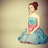 Cute young girl dressed as a princess royalty free stock image