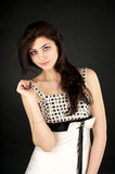 Cute young girl in evening dress Royalty Free Stock Photos