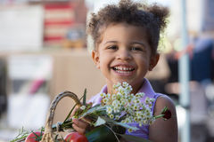 Cute Young Girl at Farmers Market Royalty Free Stock Image
