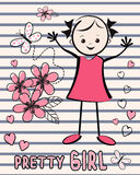 Cute young girl with flowers. T-shirt design. Royalty Free Stock Photos