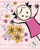 Cute young girl with flowers. T-shirt design. Royalty Free Stock Photo