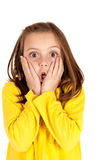 Cute young girl with fun startled face expression Royalty Free Stock Photography