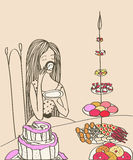 Cute young girl having a cup of tea with cupcakes and sweets. stock illustration