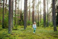 Cute young girl having fun during forest hike on beautiful summer day. Active family leisure. Cute young girl having fun during forest hike on beautiful summer royalty free stock photo